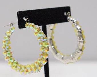 Earrings Brass Faux Crystal Hoop Earrings