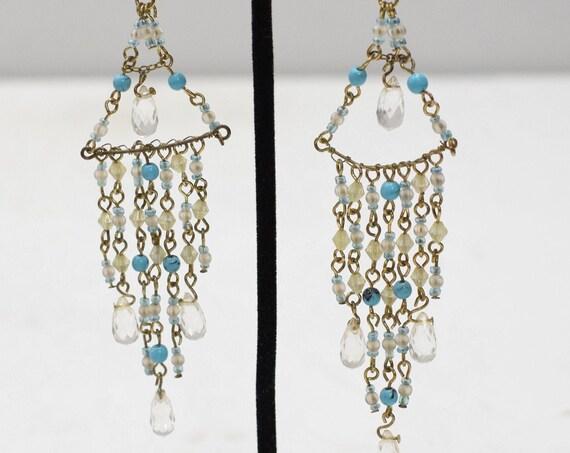Earrings Turquoise Bead Chandelier Earrings