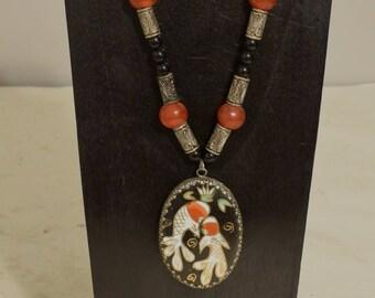 Necklace Black Porcelain Chard Peking Glass Fish Pendant Necklace