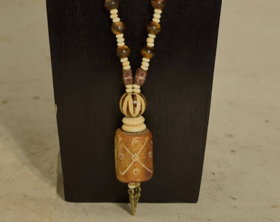 Necklace Nepal Brass Pendant Large Pendant Bone Beads Painted Wood Horn Beaded Handmade Bone Necklace  Jewelry