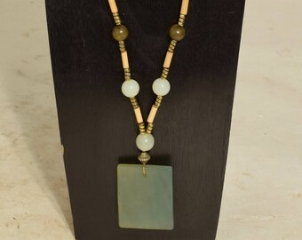 Necklace Chinese Green Adventurine Pendant Serpentine Beads Handmade Jewelry Wood Gold Green Square Assorted Pendant Necklaces