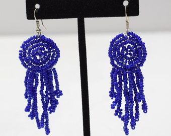 Earrings Royal Blue Beaded Earrings