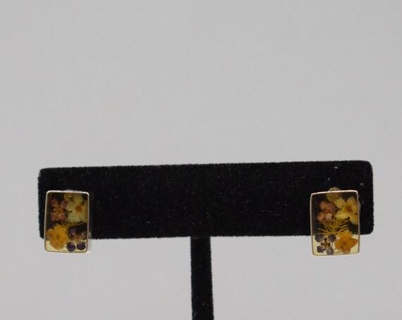 Earrings Clear Resin Dried Flower Post Earrings