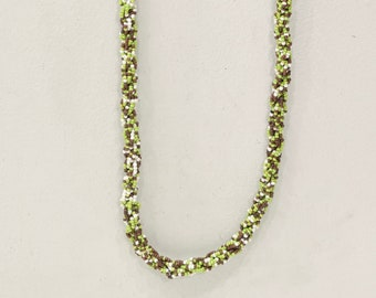 Necklace Indonesian Long Green Brown Bead Rope Necklace