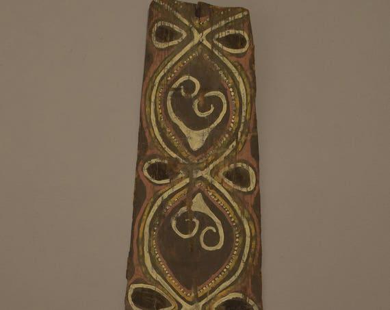 Papua New Guinea Sago Bark Panel Kwoma Mens House Bark Painting