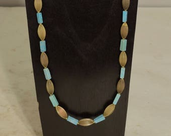Necklace Chinese Turquoise Raw Fluted Brass Necklace Handmade Blue Turquoise Womans Oval Fluted Brass Beads Necklace