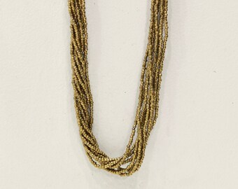 Necklace Indonesian Bronze and Brown Long Beaded Necklace