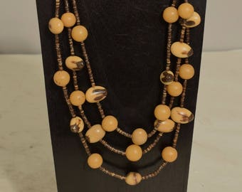 Necklace Indonesian Dou Palm Buri Nut Beads 3 Strand Necklace Handmade Jewelry Brown Coconut Heishi Natural Necklace