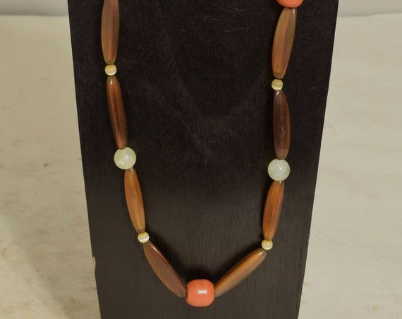 Necklace African Coral Glass Brown Horn  Green Adventurine Handmade Yellow Cat Eye Beads Coral Horn Necklace