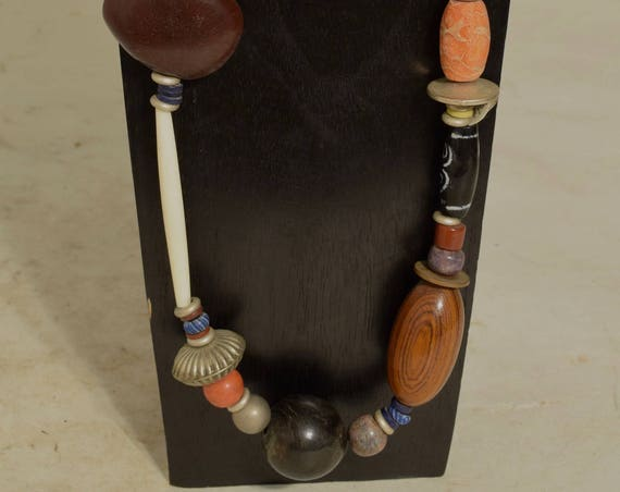 Necklace Asymmetrical Chinese Coral Black Horn Bone Handmade Wood  Doum Palm Kaolin Beads Black Glass Brushed Silver Bead Necklace