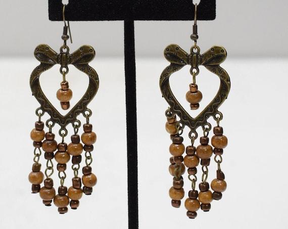 Earrings Bronze Heart Hoop Beaded Earrings
