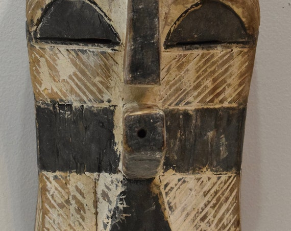 African Mask Songye Tribe Male Brown White Wood Congo Tribal Society Sonyge Kifwebe Mask