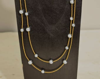 Necklace  Double Strand Grey Pearl Copper Seed Bead Handmade Pearl Necklace Jewelry