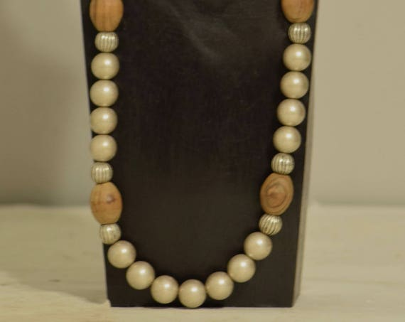 Necklace Natural Olive Wood Beads Old Silver Handmade Jewelry Antique Silver Old Brushed Silver Oval Olive Wood Bead Necklace