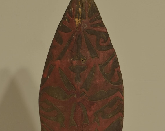Papua New Guinea Paddle Fragment Ornately Carved Red Wood Sissano Lagoon Tribal Paddle Fragment