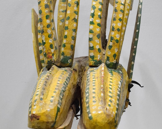 African Mask Bambara Double Antelope Marionette Yellow Puppet Mali 17""