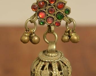 "Earring Silver Dangle Single Red Glass Kuchi Tribal Jewelry Middle Eastern Kuchi  3"""