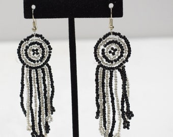 Earrings Black White Beaded Earrings