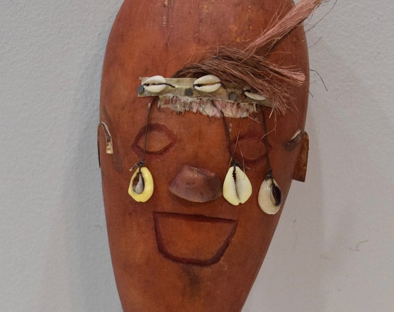 African Gourd Musical Shaker West Africa Face Cowrie  Shell Musical Instrument