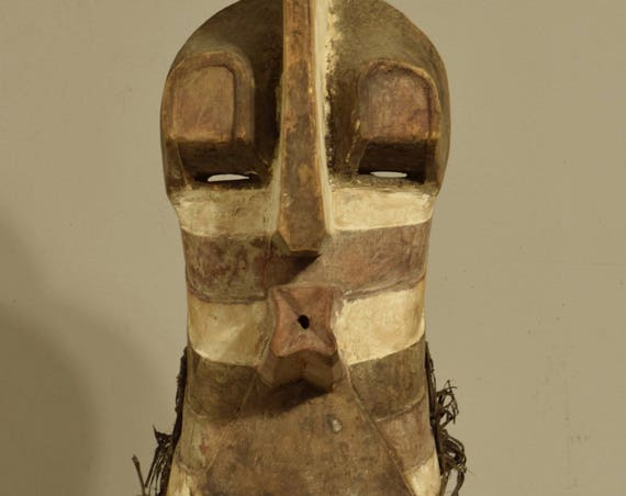 African Mask Songye Male Brown White Wood Rafia Crest Mask Congo Handmade Wood Male Society Power Songye Mask