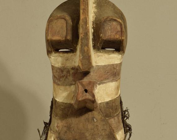 African Mask Songye Male Brown White Wood Rafia Crest Mask Congo Handmade Wood Male Society Power Songye Mask