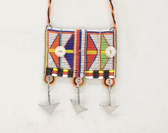 African Masai Beaded Necklace Kenya Vintage
