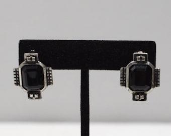 Earrings Black Silver Art Deco Post Earring
