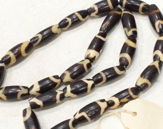 Beads India Batik Bone Tube Beads 15-16mm