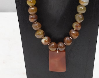 Necklace Carnelian Pendant Bead Necklace