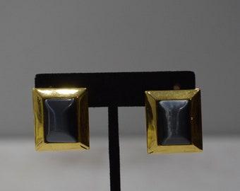 Earrings Gold Cat Eye Square Clip Earrings