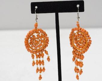 Earrings Orange Beaded Earrings