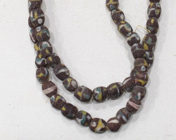 Beads African Brown Blue Sand Cast Beads 10-12mm