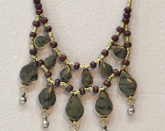 Necklace Middle East Green Stone Tribal Necklace 22""