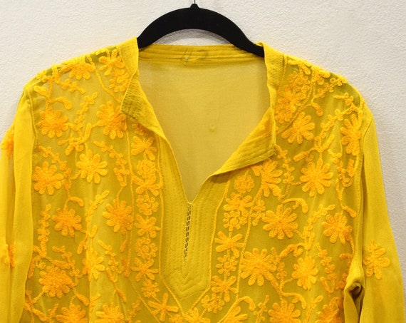 Tunic India Golden Yellow Crepe Tunic and Scarf