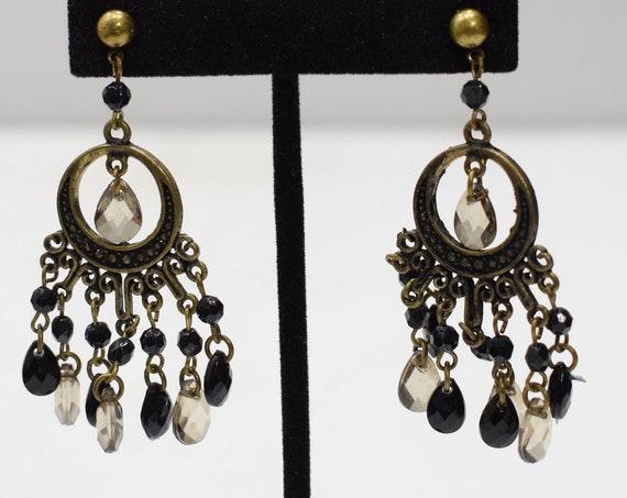 Earrings Black Glass Beaded Post Earrings