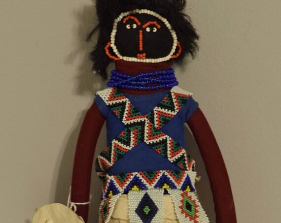 Doll Zulu Cloth Beaded Girls South African Handmade Fertility Ceremonial Vintage Zulu Doll