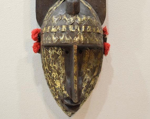 "African Mask N'tomo Wood Brass Bamana Horned Mask 24"""