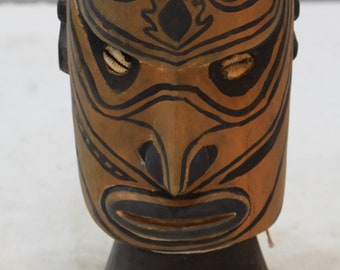 Papua New Guinea Head Wood Skull Head Iatmul Ceremonial Painted Head