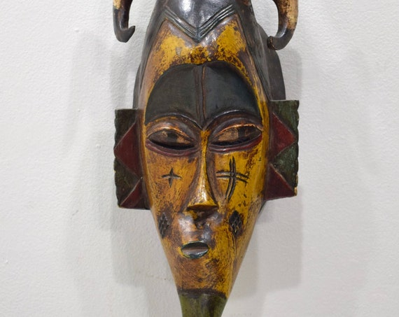 African Mask Baule Yellow Wood Mask Mask Ivory Coast
