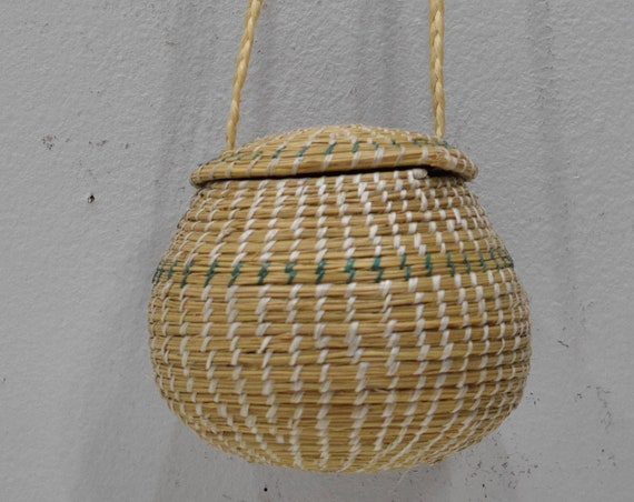 African Zulu Woven Basket with Lid from South Africa
