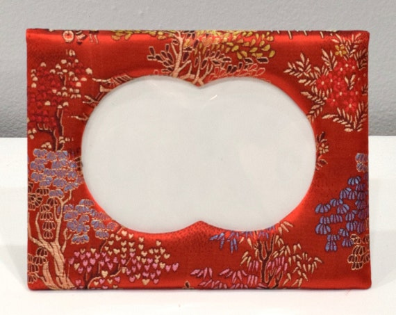 Picture Frame Chinese Cherry Red Floral Satin Brocade  Frame 5x7