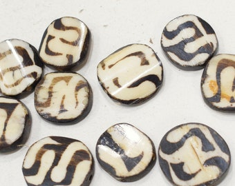 Beads African Batik Bone Chicklet Beads 21-24mm