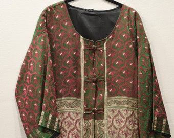 Jacket Silk Red Green Brocade Jacket