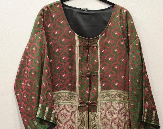 Jacket Silk Red Green Brocade Jacket
