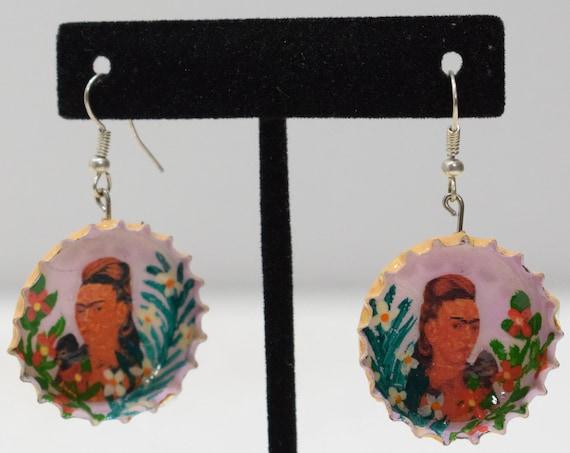 Earrings Frida Kahlo Bottle Cap Earrings