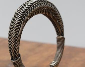 Bracelet Chinese Miao Woven Silver Mesh Bangle