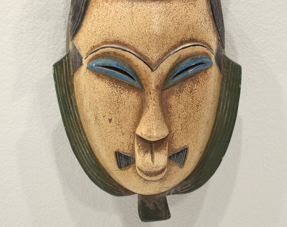 African Mask Baule Tribe Passport Mask Ivory Coast