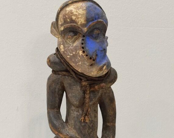 """African Statue Pende Congo Hunter Healer Wood Statue 20"""""""