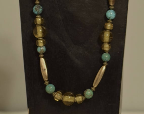 Necklace Chinese Turquoise Czech Yellow Glass Beads Handmade Jewelry Antique Gold Glass Turquoise Beaded Necklace