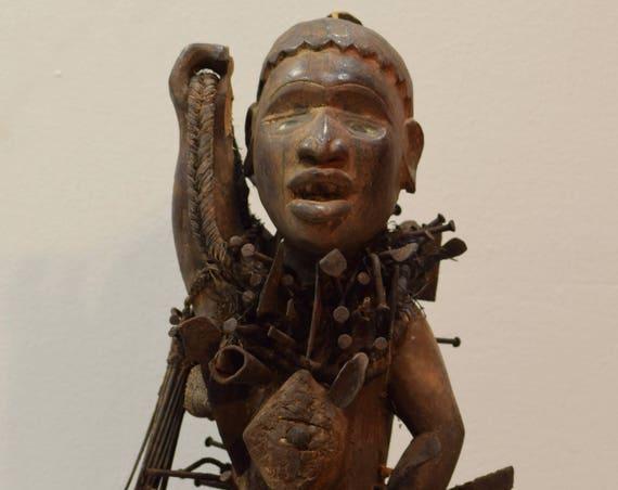 African Statue Songye Animal Body Human Figure Rider Nail Fetish Congo Nails Songye Fetish Statue